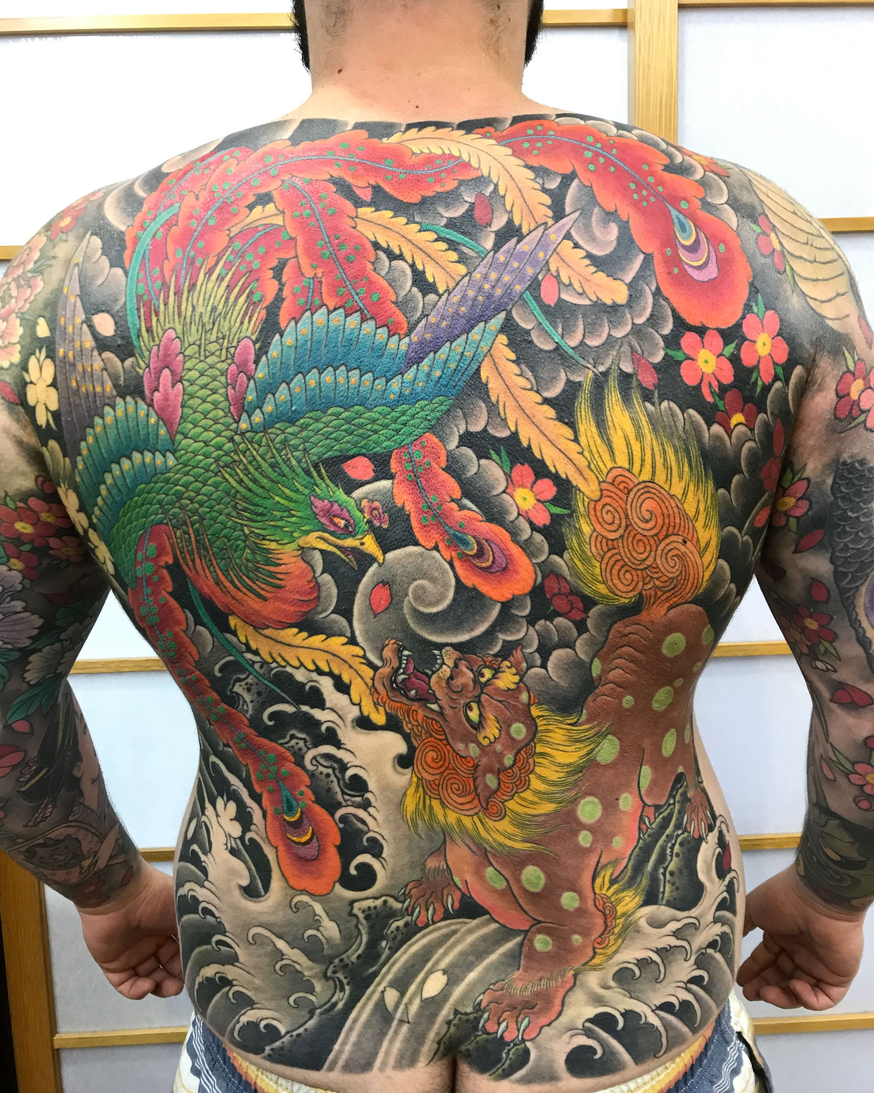 Japanese Back piece Fu dog and Phoenix